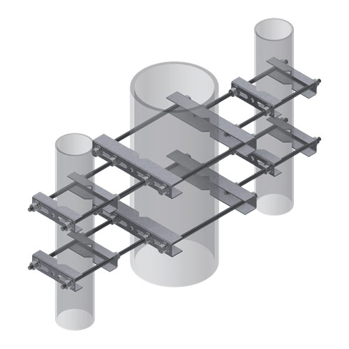 Three-Way Universal Pipe-to Pipe Clamp Sets