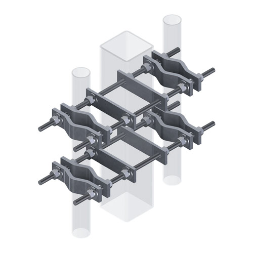 Three-Way Pipe-to-Square Clamp Set